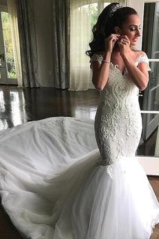 Tiul Frezowanie V-dekolt Na suwak Odwrócony trójkąt Sukienka ślubne