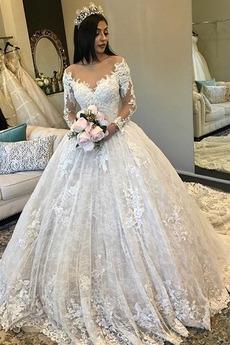 Tiul Lato hol Długi Linia A Naturalne talii Sukienka ślubne
