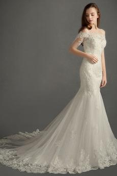 Dew ramię Długi Koszulka rękaw Kościelna Koronki nakładki Sukienka ślubne
