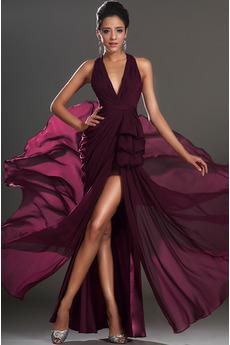 Bez pleców Glamour V-dekolt Przodu Split Sukienka na studniówkę