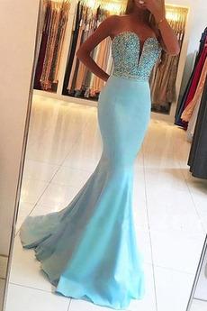Syrena Frezowanie Klejnotami stanik Na suwak Sukienka wieczorowe