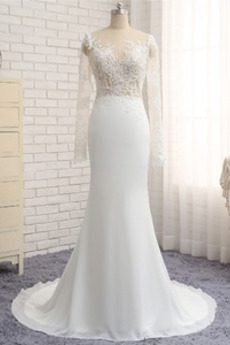 Długi rękaw Płaszcz Długi Szufelka Naturalny talia Spódnica ślubne