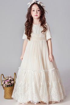 Tiul Naturalny talia Huśtawka Średni Koszulka rękaw Dzieci sukienka