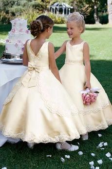 Klasyczny Cienkie Spadek Podpuchnięte Akcentowane łuk Dzieci sukienka