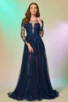 Długi rękaw Jesień Linia A Nasuwki złudzenia Sukienka wieczorowe