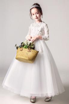Średni Długość kostki Na suwak Aplikacje Linia A Dzieci sukienka