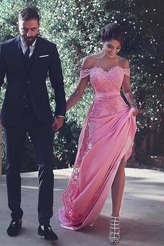 Długi Dew ramię Linia A Elegancki Koronki Sukienka wieczorowe