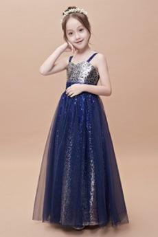 Linia A Średni Cekiny Ramiączkach Naturalne talii Dzieci sukienka
