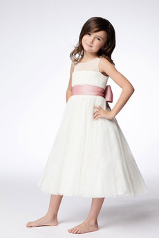Kokarda Biały Klejnot Połowy pleców Długość herbaty Dzieci sukienka