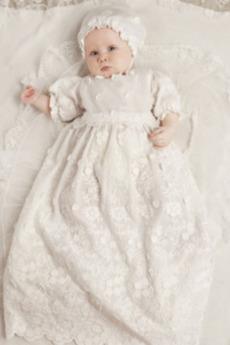 Kapelusz Długi Rękaw do łokcia Wysokie pokryte Sukienka do chrztu