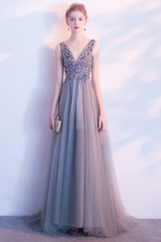 Bez pleców Naturalne talii Długość do podłogi Sukienka wieczorowe