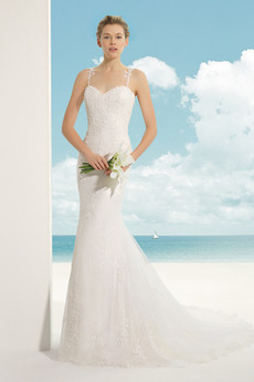 Bez pleców Kaplicy pociągu Naturalne talii Tiul Sukienka ślubne