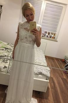 Prosty Na suwak Naturalny talia Panienki Linia A Sukienka ślubne