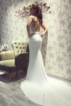 Długi Klejnot Plaża Drobna Elegancki Koronki Sukienka ślubne