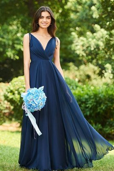 Szyfon Elegancki Linia A Naturalne talii Sukienka dla Druhen
