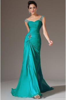 Plisowane Ograniczona rękawy Połowy pleców Sukienka wieczorowe