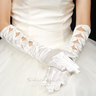Ciepłe Satyna Full Finger Autumn Odpowiednie Białe Rękawiczki Ślubne - Strona 1