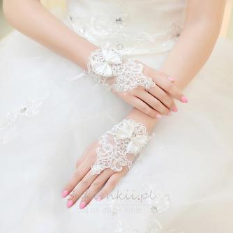 Ślubne Rękawiczki Krótkie Bez ramiączek Dekoracyjne Koronki Tkaniny Mitten - Strona 2