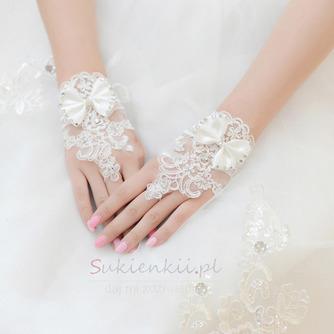 Ślubne Rękawiczki Krótkie Bez ramiączek Dekoracyjne Koronki Tkaniny Mitten - Strona 1