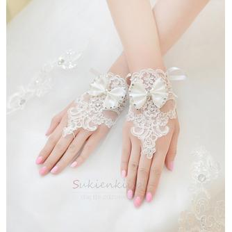 Ślubne Rękawiczki Krótkie Bez ramiączek Dekoracyjne Koronki Tkaniny Mitten - Strona 3