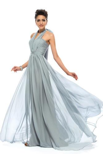 Wzburzyć Bez rękawów Lato Szyfon Naturalne talii Sukienka wieczorowe - Strona 7