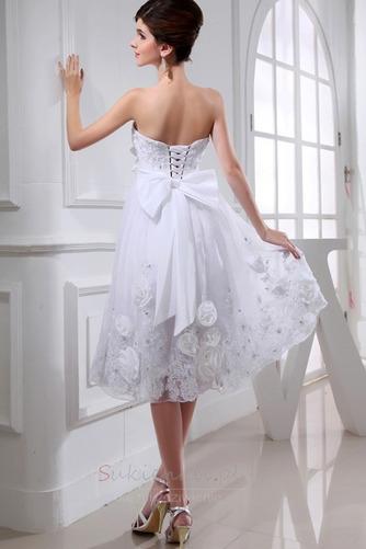 Średni Sznurowane Tiul Kwiaty Naturalne talii Sukienka ślubne - Strona 2