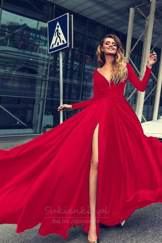 Długi rękaw Szyfon satyna Elegancki Przodu Split Spódnica wieczorowe - Strona 4