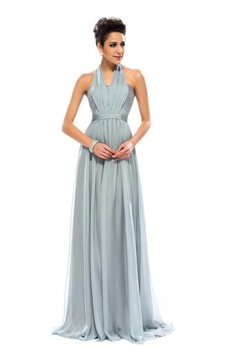 Wzburzyć Bez rękawów Lato Szyfon Naturalne talii Sukienka wieczorowe - Strona 6