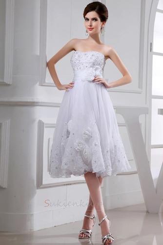 Średni Sznurowane Tiul Kwiaty Naturalne talii Sukienka ślubne - Strona 1