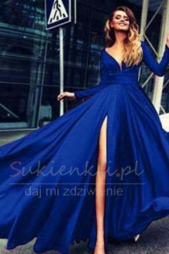 Długi rękaw Szyfon satyna Elegancki Przodu Split Spódnica wieczorowe - Strona 6