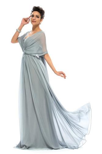 Wzburzyć Bez rękawów Lato Szyfon Naturalne talii Sukienka wieczorowe - Strona 3