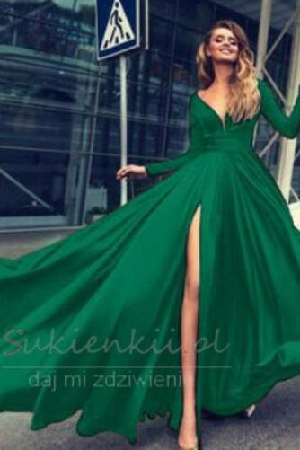 Długi rękaw Szyfon satyna Elegancki Przodu Split Spódnica wieczorowe - Strona 5
