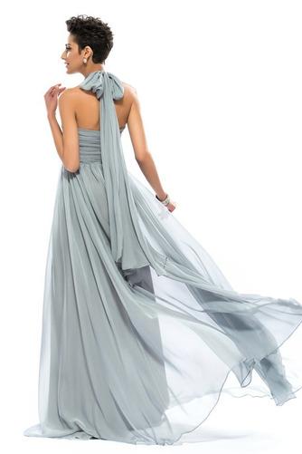 Wzburzyć Bez rękawów Lato Szyfon Naturalne talii Sukienka wieczorowe - Strona 8